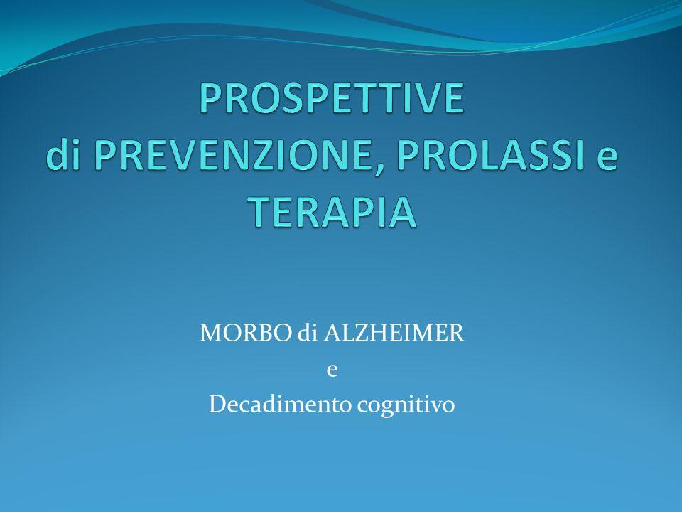 Strategie terapeutiche nel morbo di Alzheimer Inibizione dellacetilcolinesterasi, con conseguente prolungamento dellemivita dellacetilcolina, neurotrasmettitore molto carente nellAlzheimer Blocco dei recettori NMDA, recettori per lac.