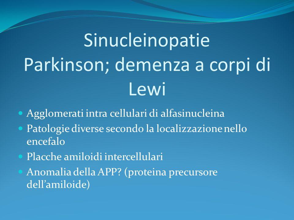 Sinucleinopatie Parkinson; demenza a corpi di Lewi Agglomerati intra cellulari di alfasinucleina Patologie diverse secondo la localizzazione nell0 enc