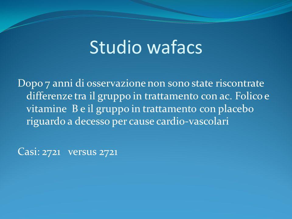 Studio wafacs Dopo 7 anni di osservazione non sono state riscontrate differenze tra il gruppo in trattamento con ac. Folico e vitamine B e il gruppo i
