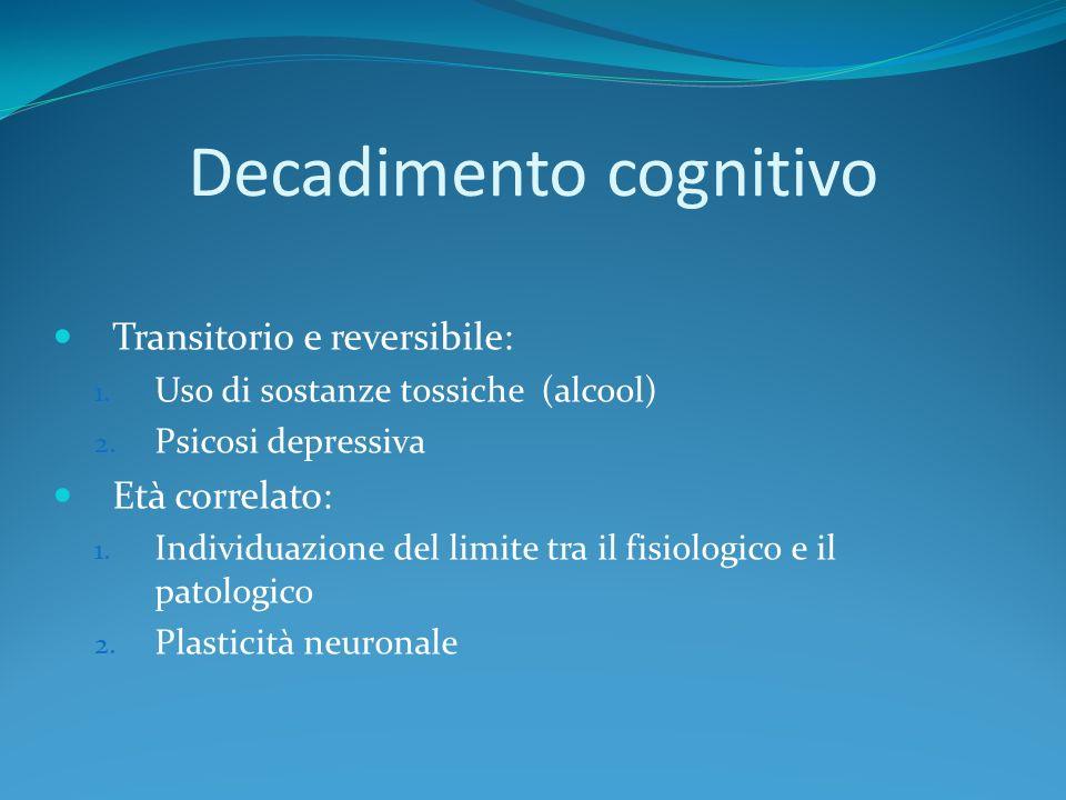 Decadimento cognitivo Transitorio e reversibile: 1. Uso di sostanze tossiche (alcool) 2. Psicosi depressiva Età correlato: 1. Individuazione del limit