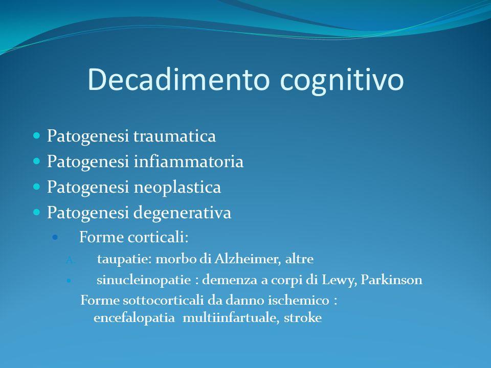 Decadimento cognitivo Patogenesi traumatica Patogenesi infiammatoria Patogenesi neoplastica Patogenesi degenerativa Forme corticali: A. taupatie: morb