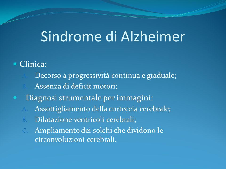 Sindrome di Alzheimer Clinica: A. Decorso a progressività continua e graduale; B. Assenza di deficit motori; Diagnosi strumentale per immagini: A. Ass