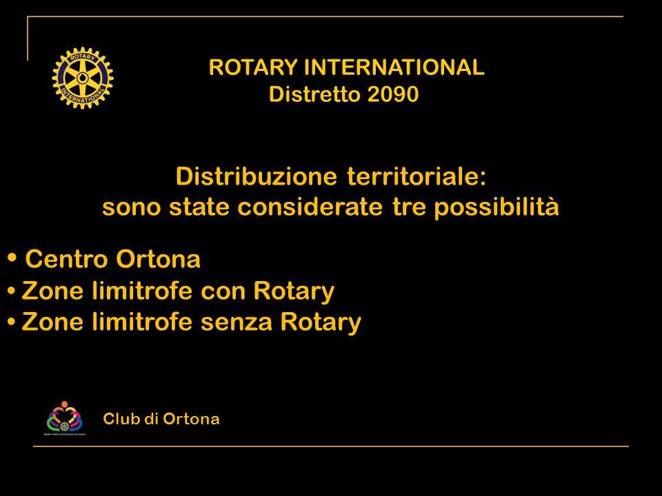 ROTARY INTERNATIONAL Distretto 2090 Distribuzione territoriale: sono state considerate tre possibilità Centro Ortona Zone limitrofe con Rotary Zone li