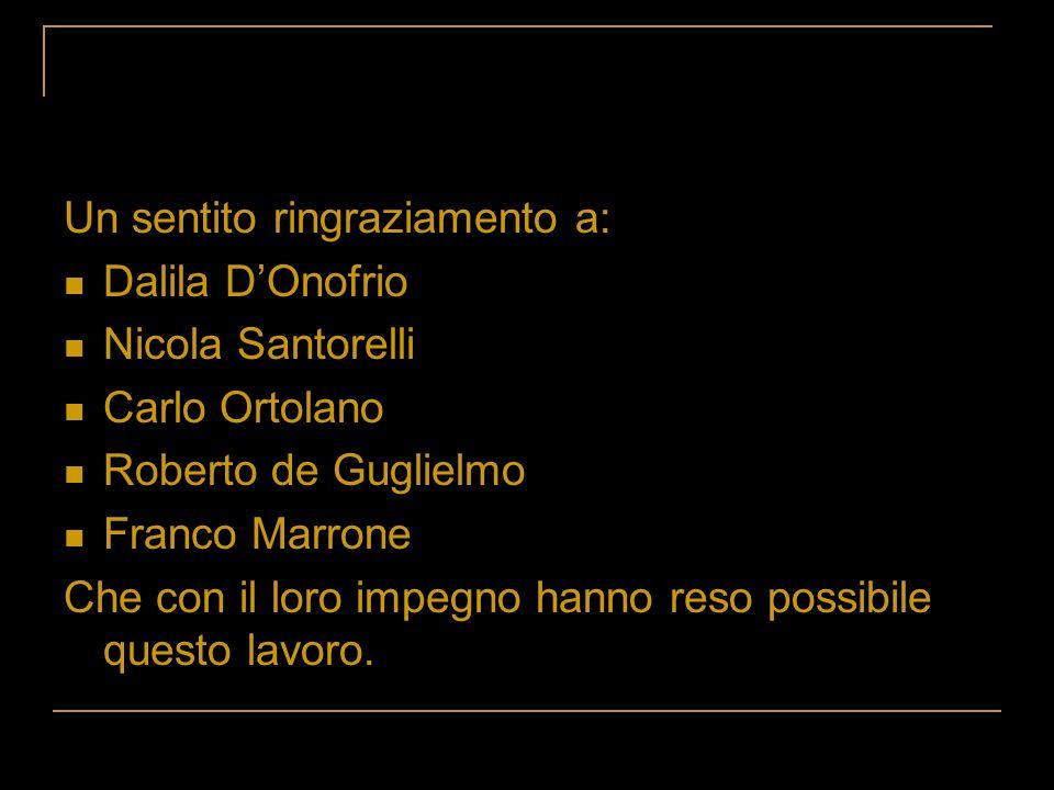 Un sentito ringraziamento a: Dalila DOnofrio Nicola Santorelli Carlo Ortolano Roberto de Guglielmo Franco Marrone Che con il loro impegno hanno reso p