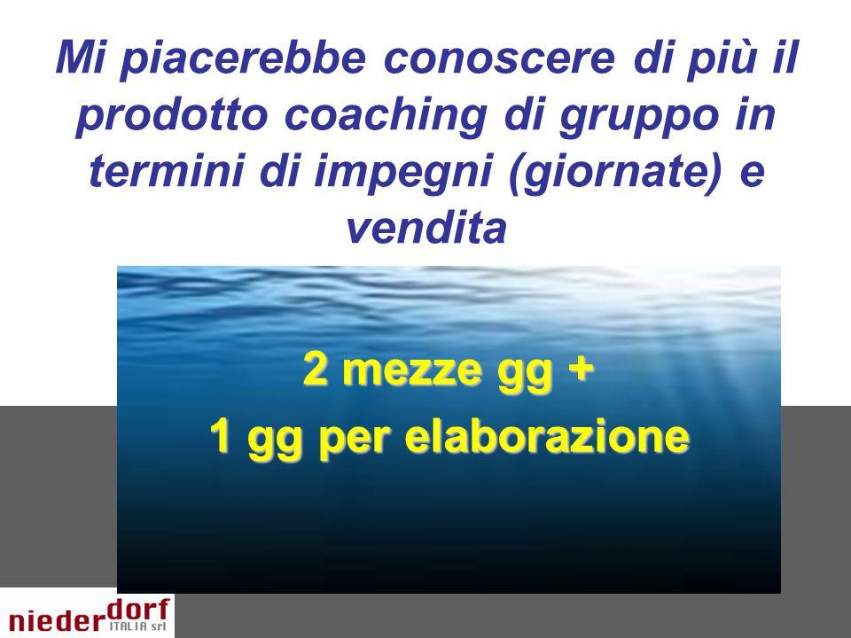 Mi piacerebbe conoscere di più il prodotto coaching di gruppo in termini di impegni (giornate) e vendita 2 mezze gg + 1 gg per elaborazione