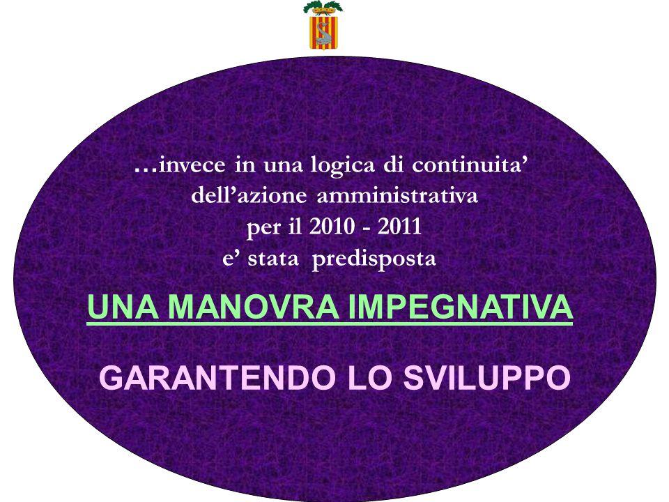 … invece in una logica di continuita dellazione amministrativa per il 2010 - 2011 e stata predisposta UNA MANOVRA IMPEGNATIVA GARANTENDO LO SVILUPPO