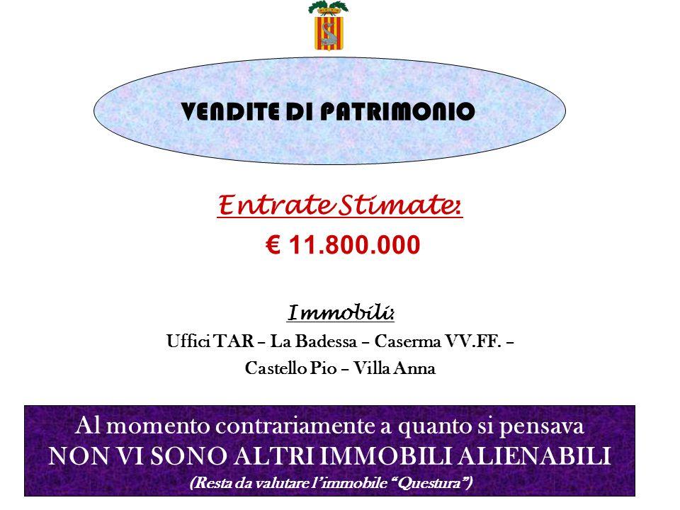 Entrate Stimate : 11.800.000 Immobili : Uffici TAR – La Badessa – Caserma VV.FF.