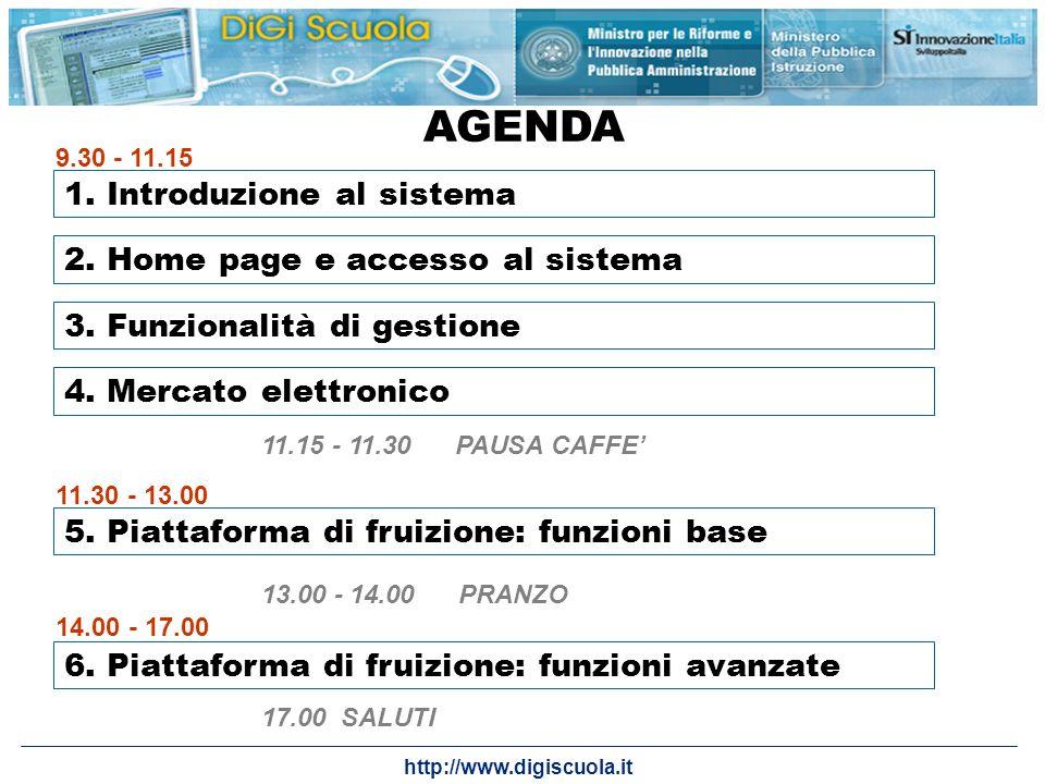 http://www.digiscuola.it AGENDA 1. Introduzione al sistema 2. Home page e accesso al sistema 3. Funzionalità di gestione 5. Piattaforma di fruizione: