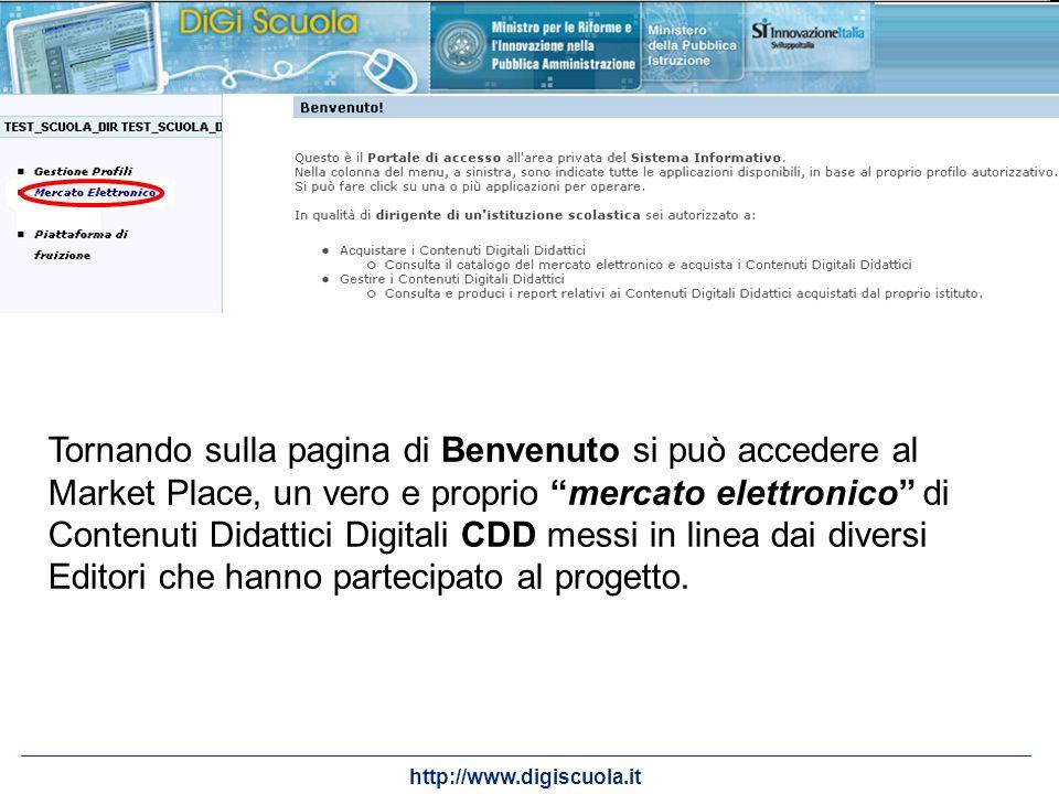 http://www.digiscuola.it Tornando sulla pagina di Benvenuto si può accedere al Market Place, un vero e proprio mercato elettronico di Contenuti Didatt
