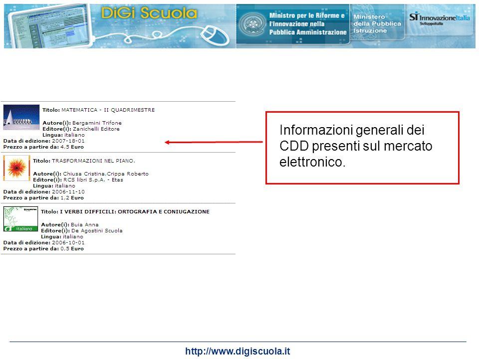 http://www.digiscuola.it Informazioni generali dei CDD presenti sul mercato elettronico.