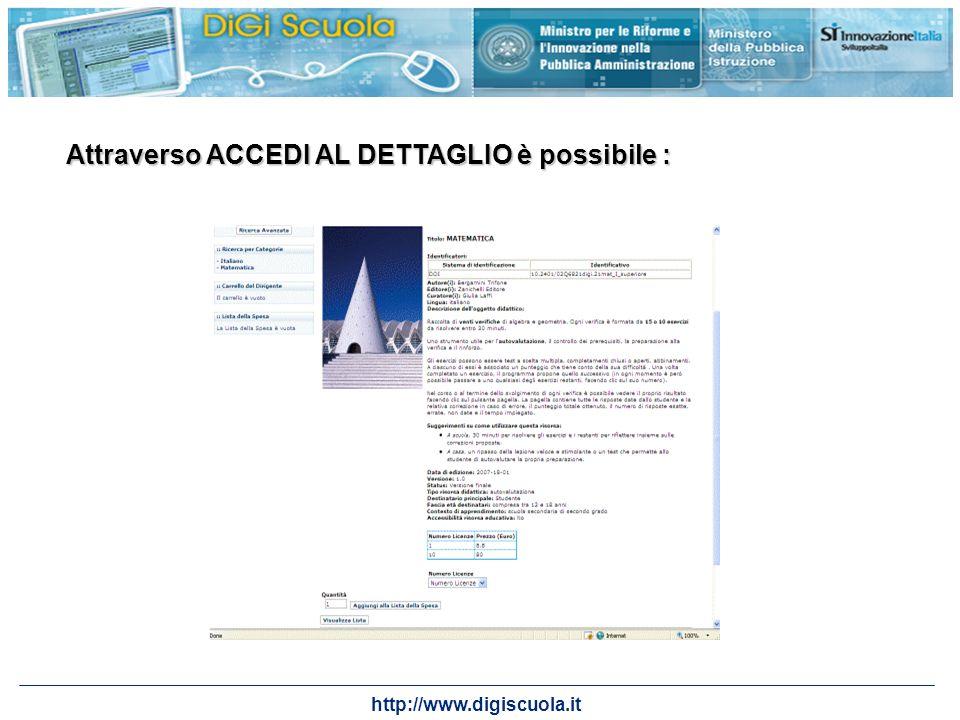 http://www.digiscuola.it Attraverso ACCEDI AL DETTAGLIO è possibile :