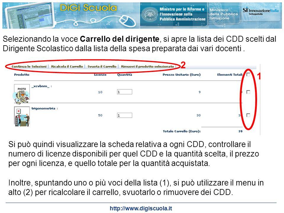 http://www.digiscuola.it Selezionando la voce Carrello del dirigente, si apre la lista dei CDD scelti dal Dirigente Scolastico dalla lista della spesa