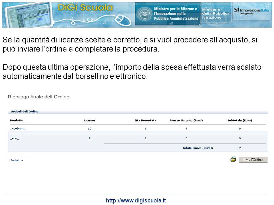 http://www.digiscuola.it Se la quantità di licenze scelte è corretto, e si vuol procedere allacquisto, si può inviare lordine e completare la procedur