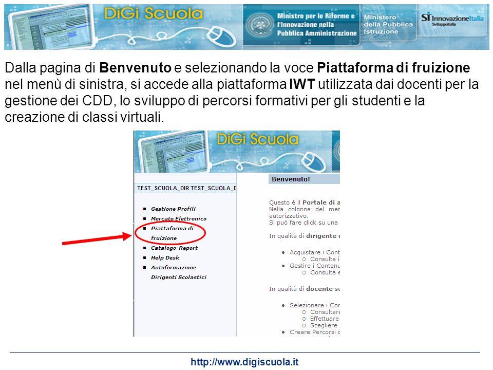 http://www.digiscuola.it Dalla pagina di Benvenuto e selezionando la voce Piattaforma di fruizione nel menù di sinistra, si accede alla piattaforma IW