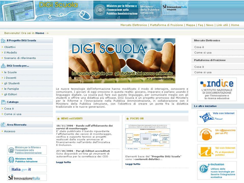 Il portale DiGiScuola Il mercato elettronico Il mercato elettronico La piattaforma di fruizione La piattaforma di fruizione Sistema di gestione diritti digitali Sistema di gestione diritti digitali
