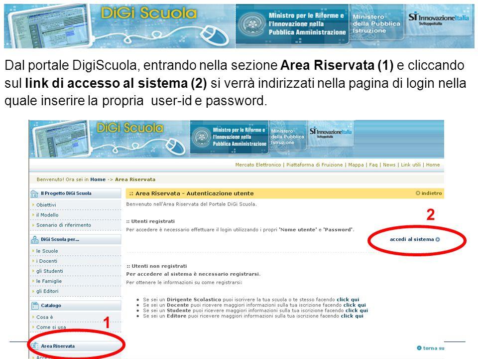 http://www.digiscuola.it 1 Dal portale DigiScuola, entrando nella sezione Area Riservata (1) e cliccando sul link di accesso al sistema (2) si verrà i