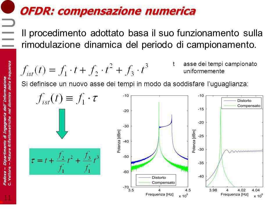 11 Padova – Dipartimento di Ingegneria dell Informazione C. Vettore – Misure Riflettometriche nel dominio della frequenza OFDR: compensazione numerica