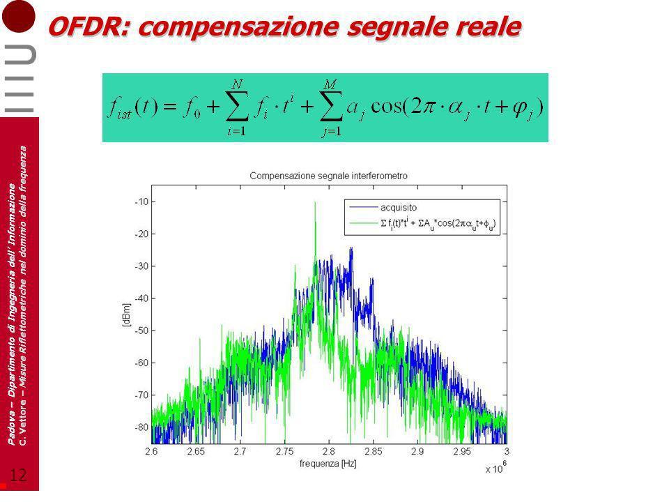 12 Padova – Dipartimento di Ingegneria dell Informazione C. Vettore – Misure Riflettometriche nel dominio della frequenza OFDR: compensazione segnale