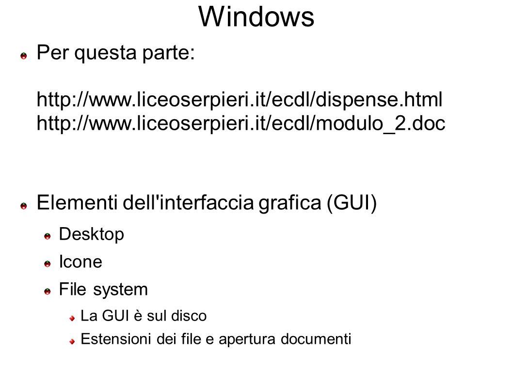 Windows Barra applicazioni Principali operazioni di gestione Tasto sinistro, destro, scorrimento Cut & paste, dragging: Sui file In generale Collegamenti (in windows sono file, altrove elementi del file sys) Send to Short cut ( ^C, ^X, ^V ecc.) F1 => Help ed Help contestuale