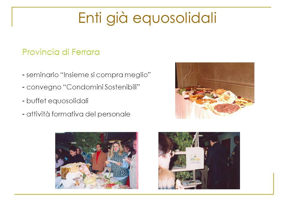 Enti già equosolidali Provincia di Ferrara - seminario Insieme si compra meglio - convegno Condomini Sostenibili - buffet equosolidali - attività form