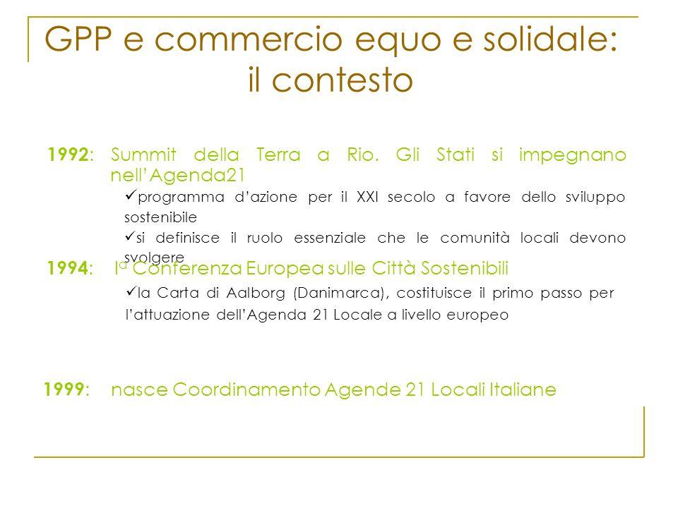 GPP e commercio equo e solidale: il contesto 1992 : Summit della Terra a Rio. Gli Stati si impegnano nellAgenda21 programma dazione per il XXI secolo