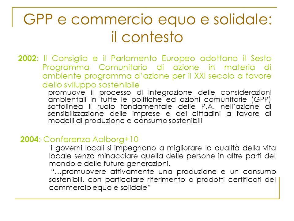 GPP e commercio equo e solidale: il contesto 2002 : Il Consiglio e il Parlamento Europeo adottano il Sesto Programma Comunitario di azione in materia