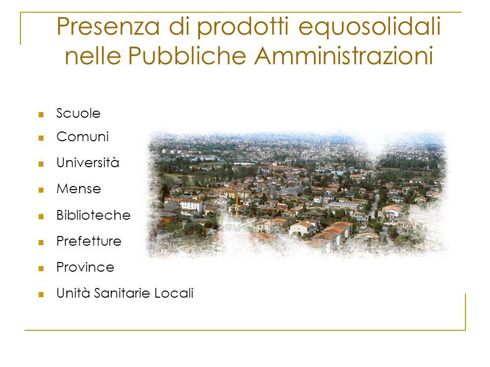 Scuole Comuni Università Mense Biblioteche Prefetture Province Unità Sanitarie Locali Presenza di prodotti equosolidali nelle Pubbliche Amministrazion