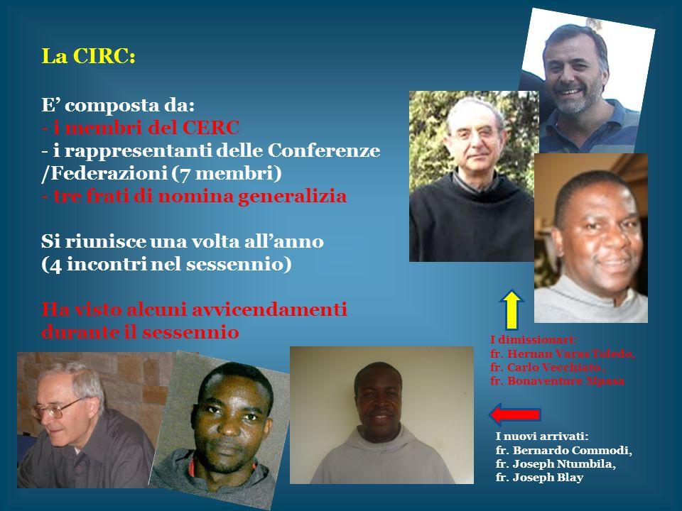 La CIRC: E composta da: - i membri del CERC - i rappresentanti delle Conferenze /Federazioni (7 membri) - tre frati di nomina generalizia Si riunisce