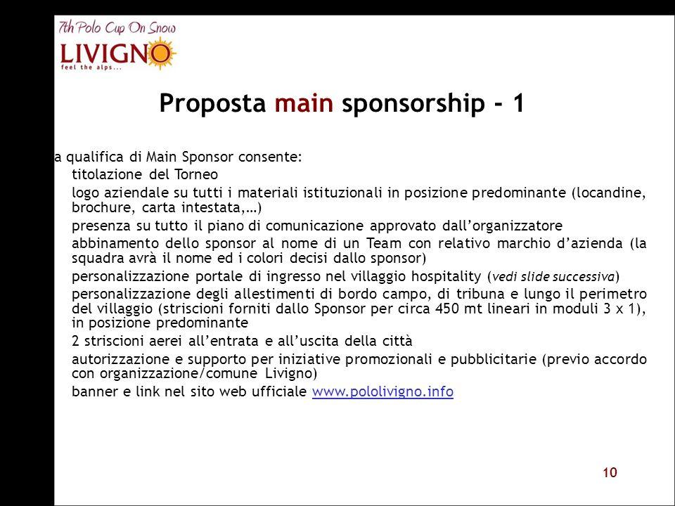 10 Proposta main sponsorship - 1 La qualifica di Main Sponsor consente: titolazione del Torneo logo aziendale su tutti i materiali istituzionali in po