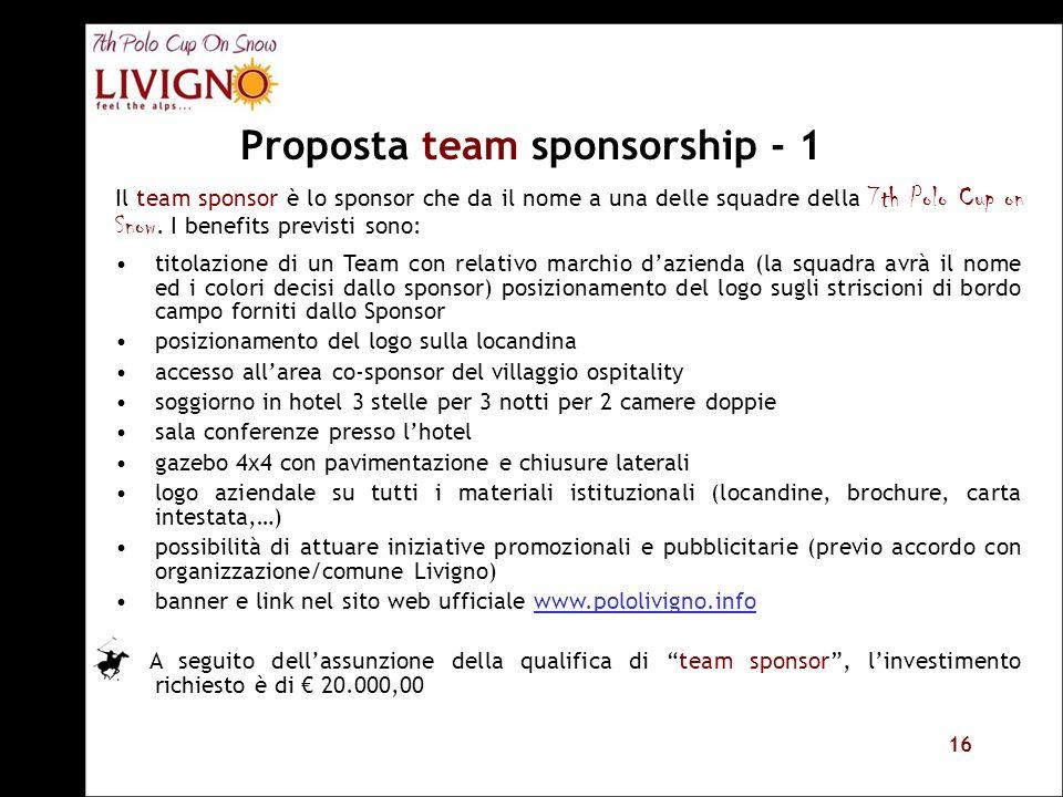 16 Proposta team sponsorship - 1 titolazione di un Team con relativo marchio dazienda (la squadra avrà il nome ed i colori decisi dallo sponsor) posiz