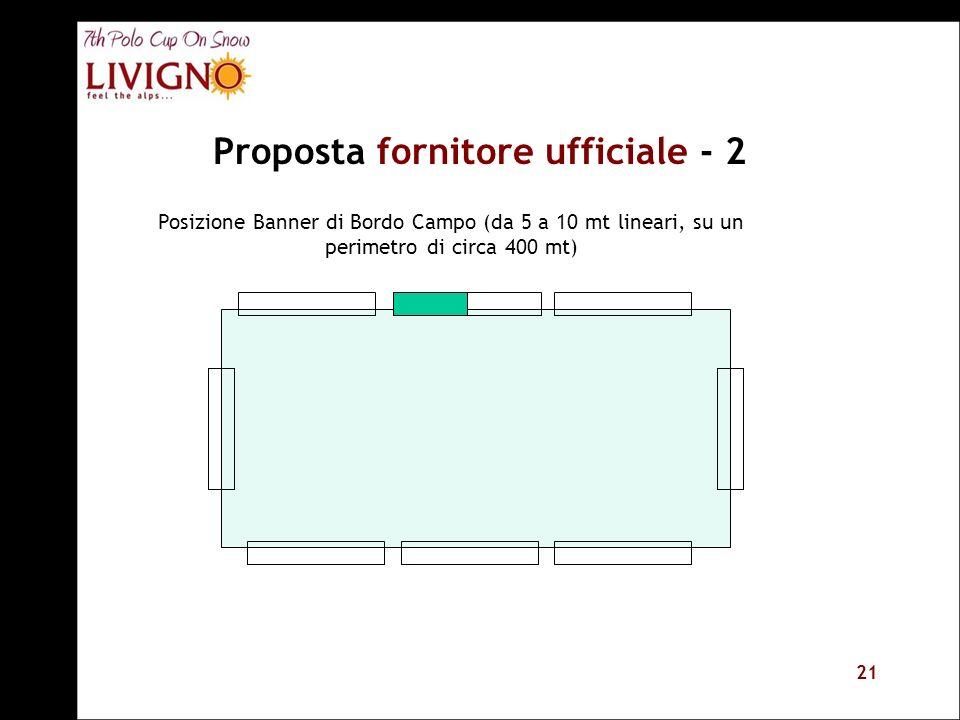 21 Proposta fornitore ufficiale - 2 Posizione Banner di Bordo Campo (da 5 a 10 mt lineari, su un perimetro di circa 400 mt)
