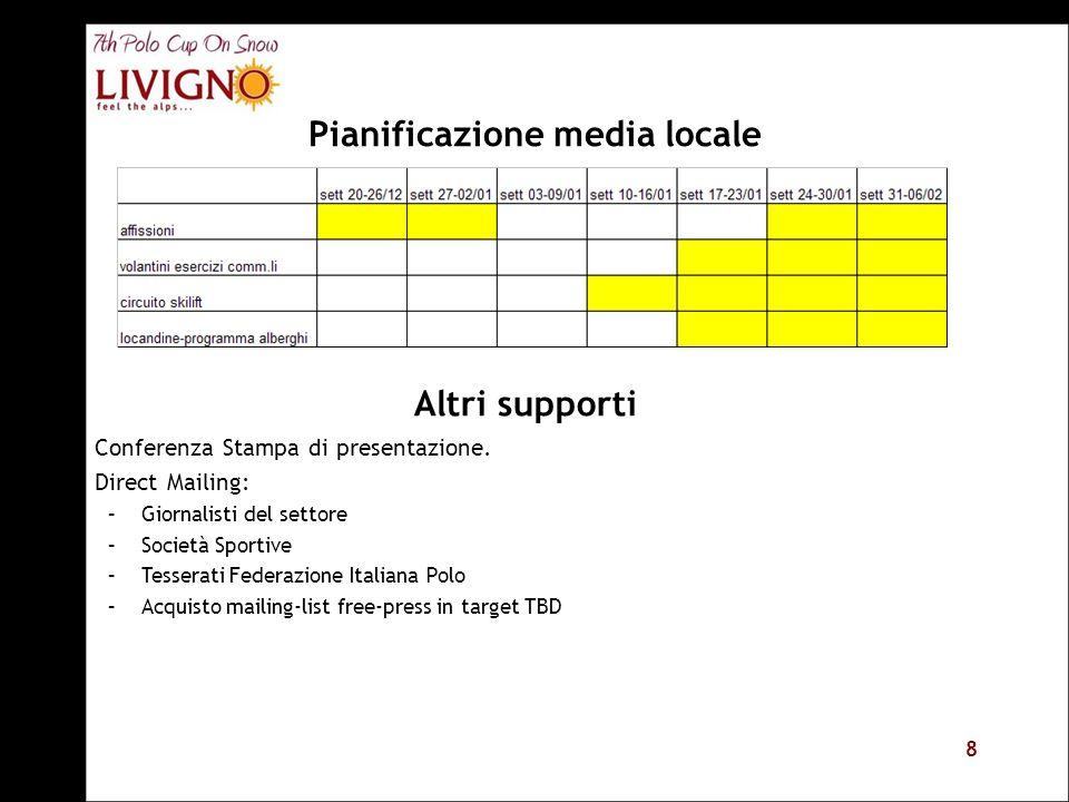 8 Pianificazione media locale Altri supporti Conferenza Stampa di presentazione.