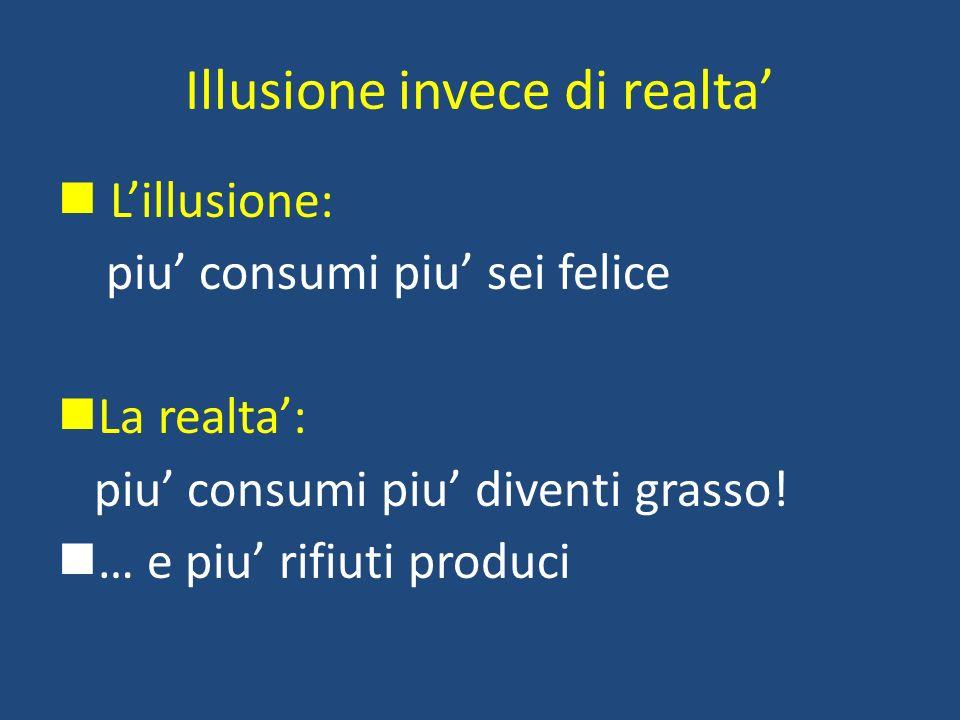 Illusione invece di realta Lillusione: piu consumi piu sei felice La realta: piu consumi piu diventi grasso! … e piu rifiuti produci