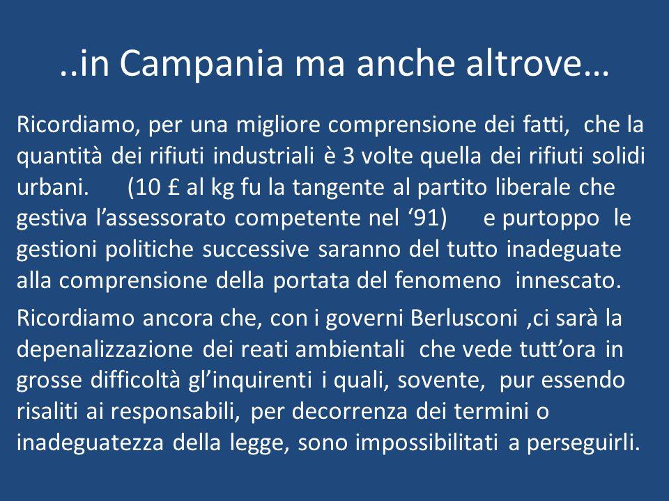 ..in Campania ma anche altrove… Ricordiamo, per una migliore comprensione dei fatti, che la quantità dei rifiuti industriali è 3 volte quella dei rifi