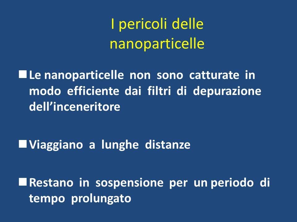 I pericoli delle nanoparticelle Le nanoparticelle non sono catturate in modo efficiente dai filtri di depurazione dellinceneritore Viaggiano a lunghe
