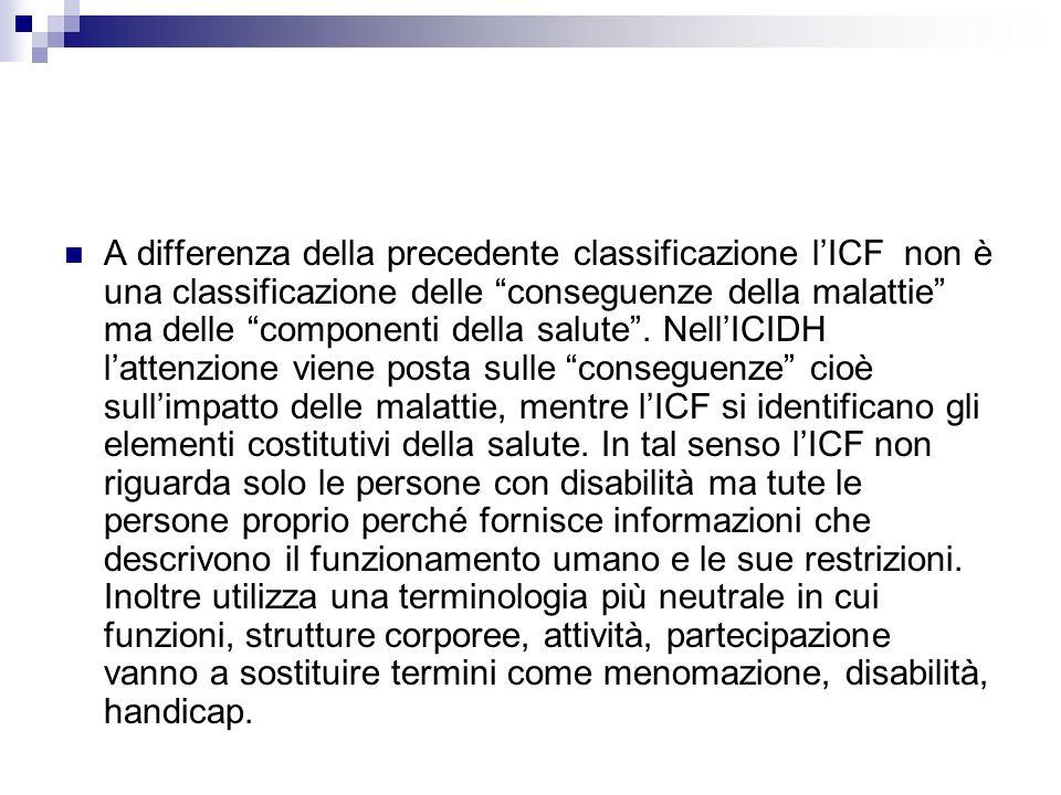 A differenza della precedente classificazione lICF non è una classificazione delle conseguenze della malattie ma delle componenti della salute. NellIC