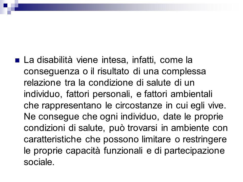 La disabilità viene intesa, infatti, come la conseguenza o il risultato di una complessa relazione tra la condizione di salute di un individuo, fattor