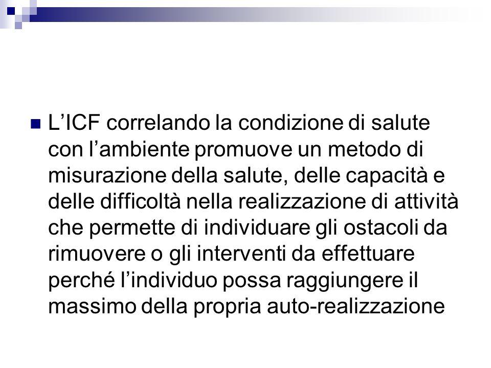 LICF correlando la condizione di salute con lambiente promuove un metodo di misurazione della salute, delle capacità e delle difficoltà nella realizza