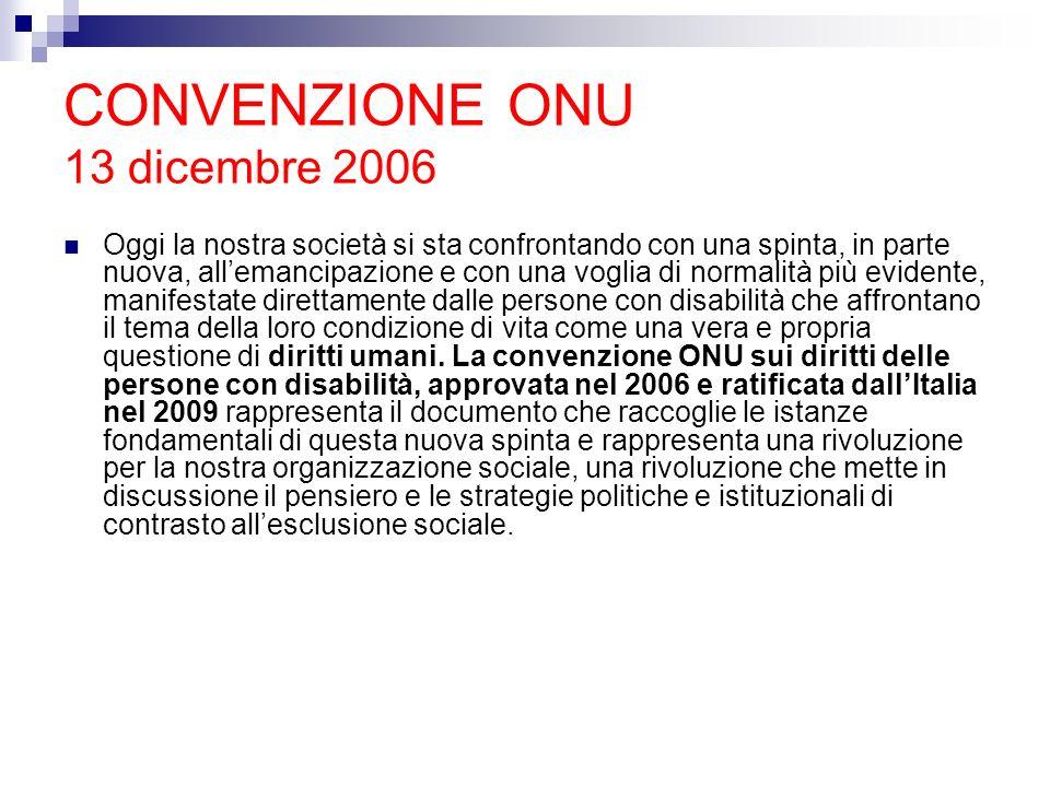 CONVENZIONE ONU 13 dicembre 2006 Oggi la nostra società si sta confrontando con una spinta, in parte nuova, allemancipazione e con una voglia di norma