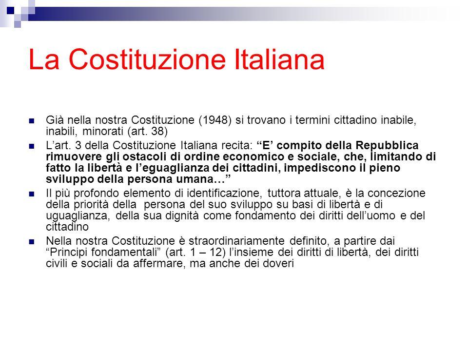La Costituzione Italiana Già nella nostra Costituzione (1948) si trovano i termini cittadino inabile, inabili, minorati (art. 38) Lart. 3 della Costit