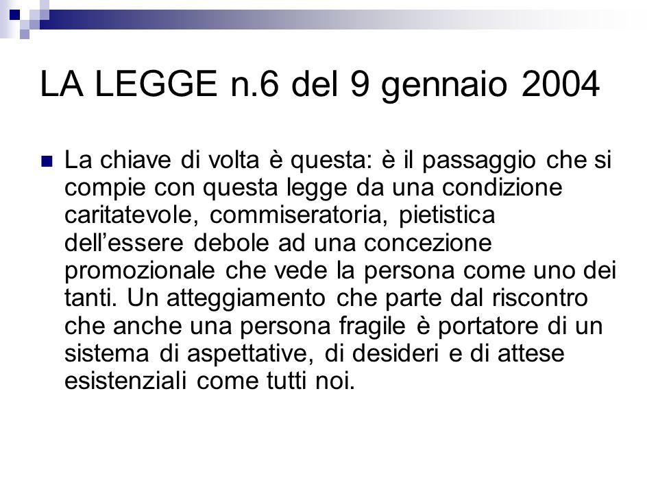 LA LEGGE n.6 del 9 gennaio 2004 La chiave di volta è questa: è il passaggio che si compie con questa legge da una condizione caritatevole, commiserato