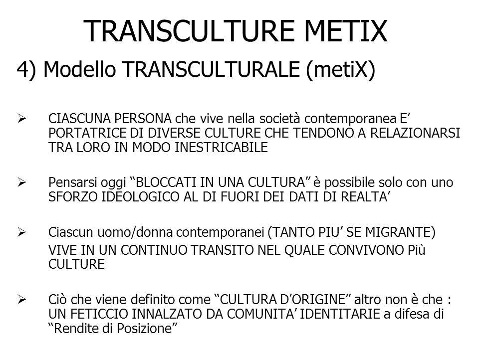 TRANSCULTURE METIX 4) Modello TRANSCULTURALE (metiX) CIASCUNA PERSONA che vive nella società contemporanea E PORTATRICE DI DIVERSE CULTURE CHE TENDONO