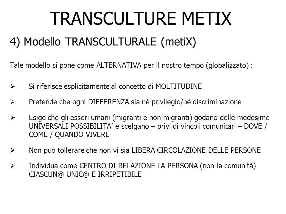 TRANSCULTURE METIX 4) Modello TRANSCULTURALE (metiX) Tale modello si pone come ALTERNATIVA per il nostro tempo (globalizzato) : Si riferisce esplicita