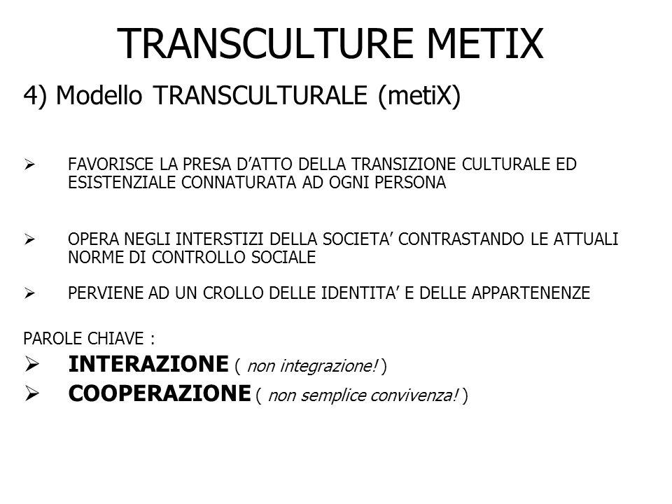 TRANSCULTURE METIX 4) Modello TRANSCULTURALE (metiX) FAVORISCE LA PRESA DATTO DELLA TRANSIZIONE CULTURALE ED ESISTENZIALE CONNATURATA AD OGNI PERSONA