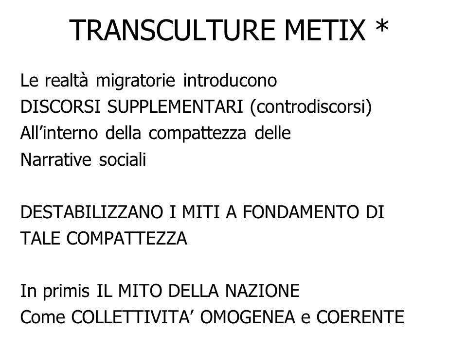 TRANSCULTURE METIX 4) Modello TRANSCULTURALE (metiX) Tale modello si pone come ALTERNATIVA per il nostro tempo (globalizzato) : Si riferisce esplicitamente al concetto di MOLTITUDINE Pretende che ogni DIFFERENZA sia nè privilegio/né discriminazione Esige che gli esseri umani (migranti e non migranti) godano delle medesime UNIVERSALI POSSIBILITA e scelgano – privi di vincoli comunitari – DOVE / COME / QUANDO VIVERE Non può tollerare che non vi sia LIBERA CIRCOLAZIONE DELLE PERSONE Individua come CENTRO DI RELAZIONE LA PERSONA (non la comunità) CIASCUN@ UNIC@ E IRRIPETIBILE