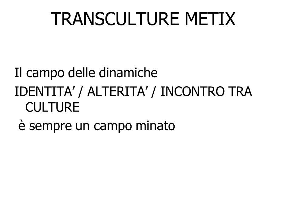 TRANSCULTURE METIX 4) Modello TRANSCULTURALE (metiX) FAVORISCE LA PRESA DATTO DELLA TRANSIZIONE CULTURALE ED ESISTENZIALE CONNATURATA AD OGNI PERSONA OPERA NEGLI INTERSTIZI DELLA SOCIETA CONTRASTANDO LE ATTUALI NORME DI CONTROLLO SOCIALE PERVIENE AD UN CROLLO DELLE IDENTITA E DELLE APPARTENENZE PAROLE CHIAVE : INTERAZIONE ( non integrazione.