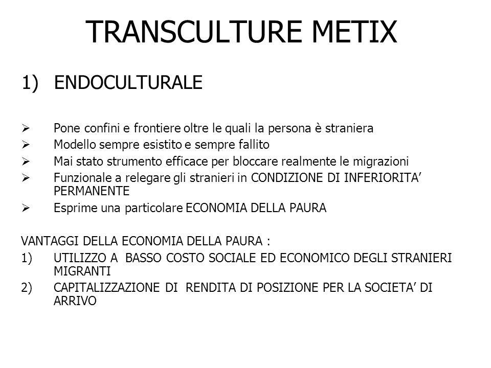 TRANSCULTURE METIX 2) Modello MULTICULTURALE - E il primo che si afferma tra le società democratiche moderne - Coniuga rifiuto della Xenofobia e Capitalizzazione della Rendita - E un tentativo di ANESTATIZZARE XENOFOBIA E RAZZISMO SENZA PERDERNE I VANTAGGI - La COMUNITA ETNICA è alla base della STRUTTURA SOCIALE - Impone il culto della convivenza tra culture e comunità etniche ciascuna relegata in SPAZI SEPARATI Esempio : SOCIETA STATUNITENSE è apertamente multiculturale nel senso che rifiuta di ghettizzare lo straniero proliferano i tanti ghetti delle variegate comunità ( chiuse ed etnoculturali ) si fonda sulla presenza di COMUNITA SEPARATE E NEMICHE ( Ogni comunità ha i suoi luoghi, scuole, quotidiani, radio, tv, LOBBY DI POTERE ) PAROLA DORDINE DELLA MULTICULTURALITA E SEPARARE PER DOMINARE