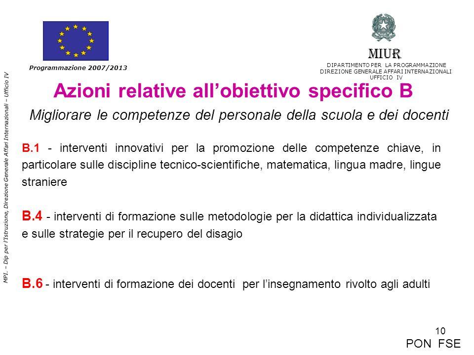 10 MPI. – Dip per lIstruzione, Direzione Generale Affari Internazionali – Ufficio IV Programmazione 2007/2013 Azioni relative allobiettivo specifico B