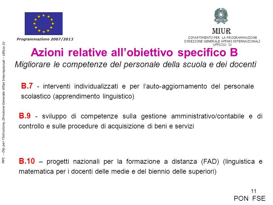 11 MPI. – Dip per lIstruzione, Direzione Generale Affari Internazionali – Ufficio IV Programmazione 2007/2013 Azioni relative allobiettivo specifico B