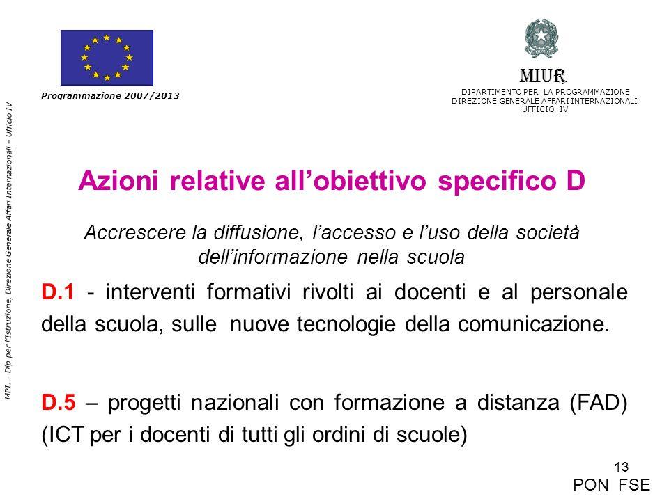 13 MPI. – Dip per lIstruzione, Direzione Generale Affari Internazionali – Ufficio IV Programmazione 2007/2013 Azioni relative allobiettivo specifico D